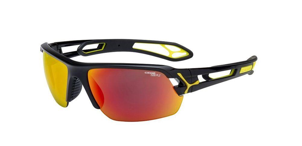 Sportowe okulary przeciwsłoneczne S'track Cat.1,3 Medium Shiny Black 1500 Grey Polaryzacja Orange FM + 1000 Clear